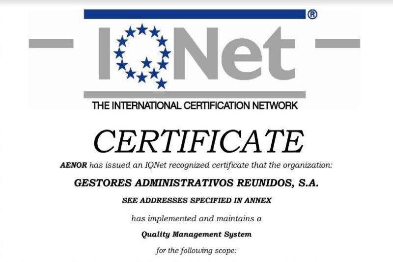 Garsa 2018. Certificado IQNet