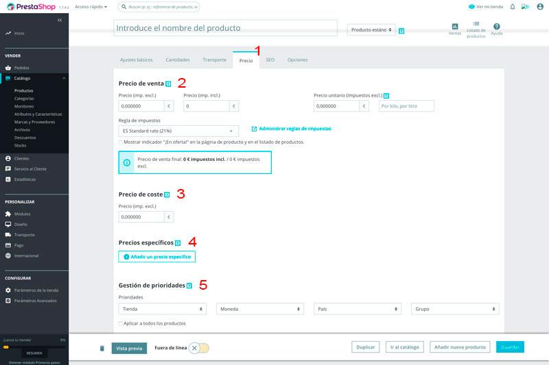 Prestashop 1.7.  Página de configuración de precio de producto