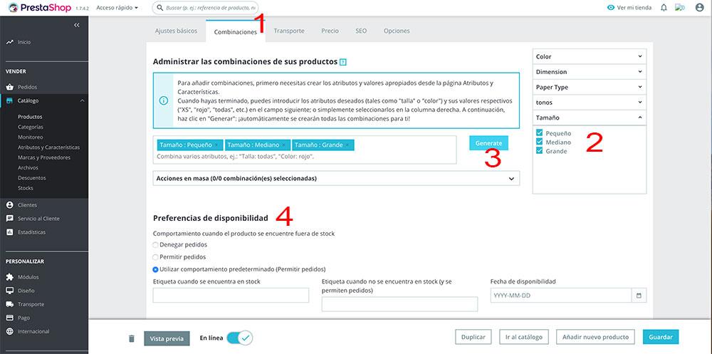 Imagen que muestra la pantalla en la que se crean las combinaciones de productos según los atributos en tiendas online creadas con Prestashop 1.7